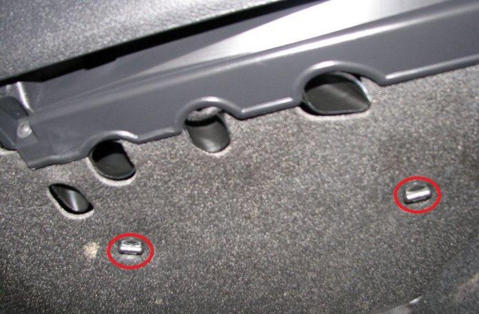2 пластиковых болта защиты салонного фильтра