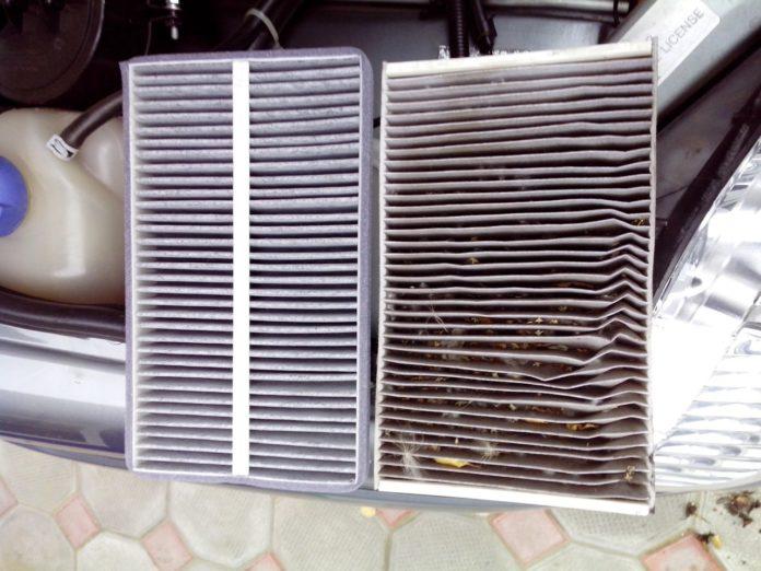 Забитый листьями салонный фильтр Хёндай соната